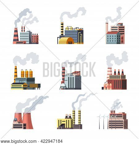 Icon Set Of Industrial Factory. Manufactory Industrial Buildings Refinery Factorys Or Nuclear Power
