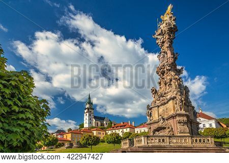 Town Castle And Plague Column In Kremnica, Important Medieval Mining Town, Slovakia, Europe.