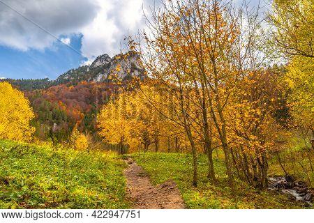 Mountain Valley Landscape In Autumn. The Vratna Valley In Mala Fatra National Park, Slovakia, Europe