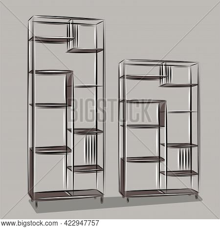 Shelving For Office And Apartment. Loft Style Shelves. Furniture, Interior, Modern Design. Isolated
