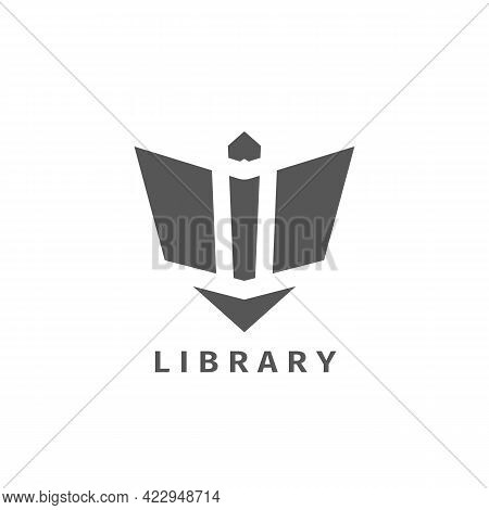 Geometric Book Logo. Abstract Symbol Of Open Book. Vector Emblem Design For Libraries Or Bookstore