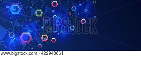 Abstract Background With Triangles And Multicolored Hexagons On A Blue Background. Cyber Security Fo