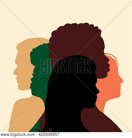 Poster With Different Women.girls Power. Feminists Illustration. Womens Day