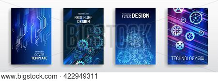 Vector Template For Brochure Or Cover With Gears, Mechanical Elements Background. Blue Layout Futuri