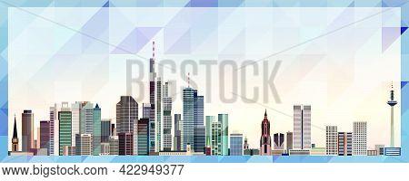 Frankfurt Am Main Skyline Vector Colorful Poster On Beautiful Background