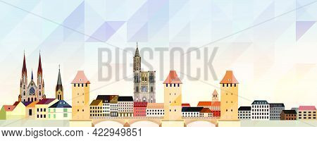 Strasbourg Skyline Vector Colorful Poster On Beautiful Background