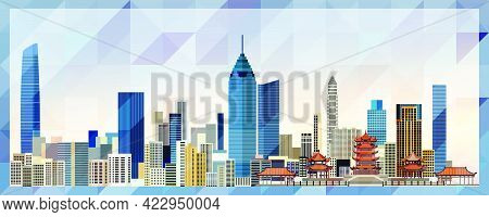 Wuhan Skyline Vector Colorful Poster On Beautiful Background