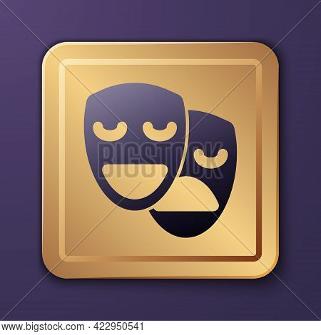 Purple Comedy And Tragedy Theatrical Masks Icon Isolated On Purple Background. Gold Square Button. V