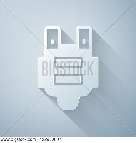 Paper Cut Bulletproof Vest For Protection From Bullets Icon Isolated On Grey Background. Body Armor