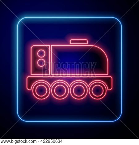 Glowing Neon Mars Rover Icon Isolated On Blue Background. Space Rover. Moonwalker Sign. Apparatus Fo
