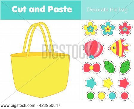 Decorate Beach Tote Bag With Glue And Scissors. Cut And Paste Children Educational Game. Stickers Ac