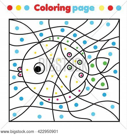 Fish Coloring Page. Color By Dots, Printable Activity. Worksheet For Toddlers And Pre School Age. Ch