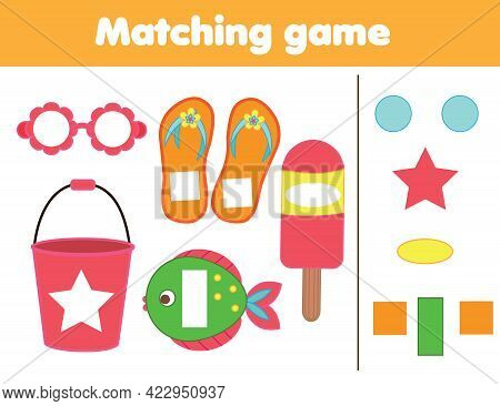 Matching Children Educational Game. Match By Shape. Activity For Kids And Toddlers Summer Holidays T