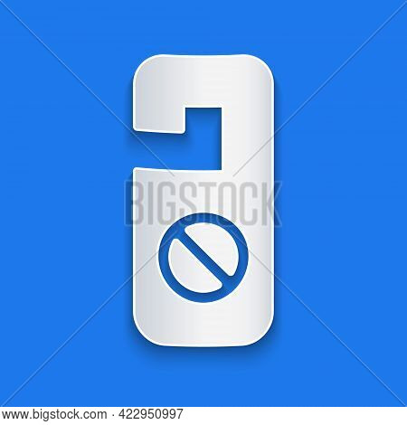 Paper Cut Please Do Not Disturb Icon Isolated On Blue Background. Hotel Door Hanger Tags. Paper Art