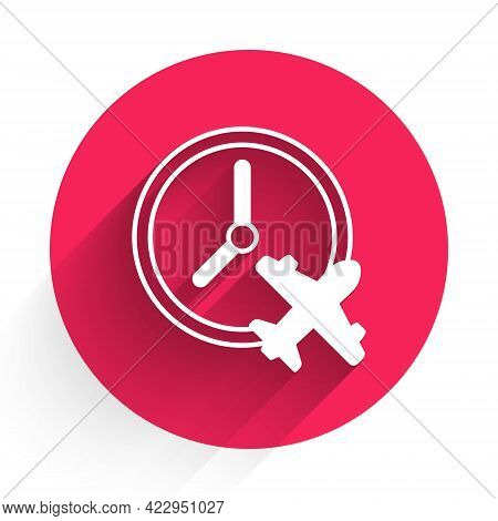 White Clock With Airplane Icon Isolated With Long Shadow. Designation Of Time Before Departure, Chec