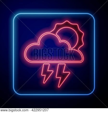 Glowing Neon Storm Icon Isolated On Black Background. Cloud With Lightning And Sun Sign. Weather Ico