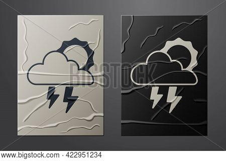 White Storm Icon Isolated On Crumpled Paper Background. Cloud With Lightning And Sun Sign. Weather I