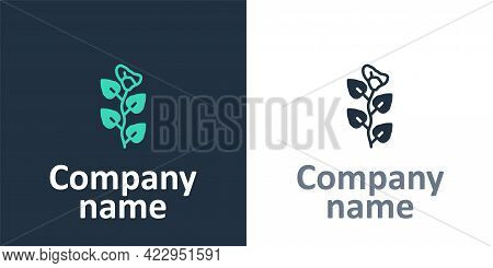 Logotype Ivy Branch Icon Isolated On White Background. Branch With Leaves. Logo Design Template Elem