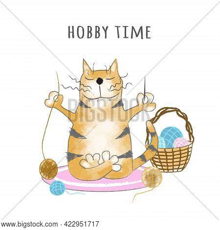 Funny Ginger Tabby Cat Sits With A Ball Of Thread And A Needle In A Meditation Pose. Hobby Time. Car