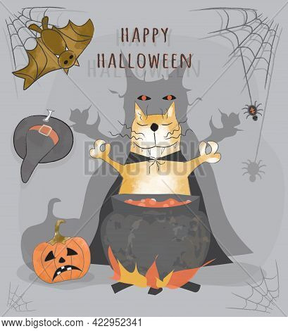 Greetings Happy Halloween Card. Funny Cartoon Red Cat Cooks Potion. Halloween Poster With Cat, Cauld