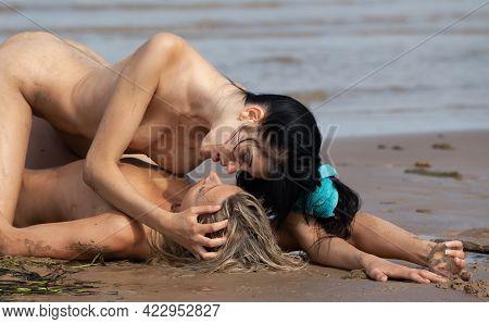 Women Couple In Sea Side