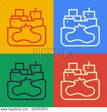 Pop Art Line Wrecked Oil Tanker Ship Icon Isolated On Color Background. Oil Spill Accident. Crash Ta