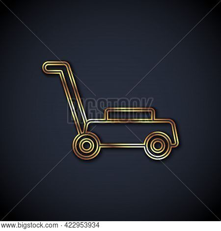 Gold Line Lawn Mower Icon Isolated On Black Background. Lawn Mower Cutting Grass. Vector