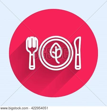 White Line Vegan Food Diet Icon Isolated White Line Background. Organic, Bio, Eco Symbol. Vegan, No