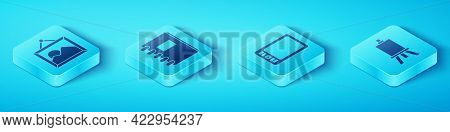 Set Isometric Picture Landscape, Spiral Notebook, Easel Or Painting Art Boards And Graphic Tablet Ic