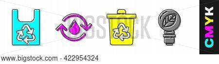 Set Plastic Bag With Recycle, Recycle Clean Aqua, Recycle Bin With Recycle And Light Bulb With Leaf