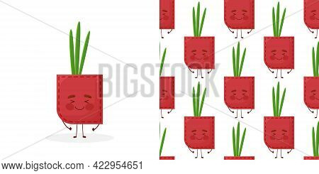 Seamless Pattern Onion Shaped Patch Pocket. Character Pocket Onion. Cartoon Style. Design Element.