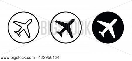 Plane, Aircraft, Airplane Travel, Air Plane Flight Icons Button, Vector, Sign, Symbol, Logo, Illustr