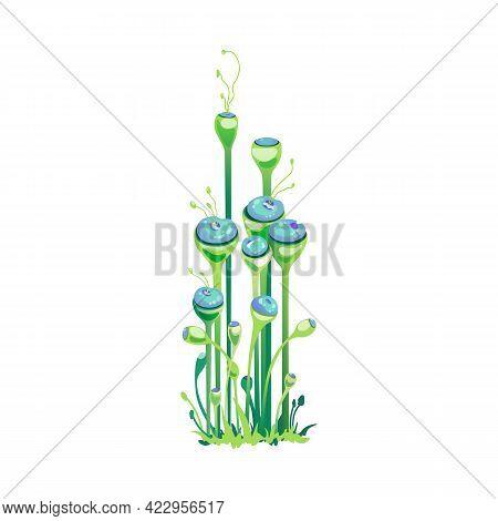 Fantastic Unusual Magic Plant Or Mushroom, Cartoon Vector Illustration Isolated.
