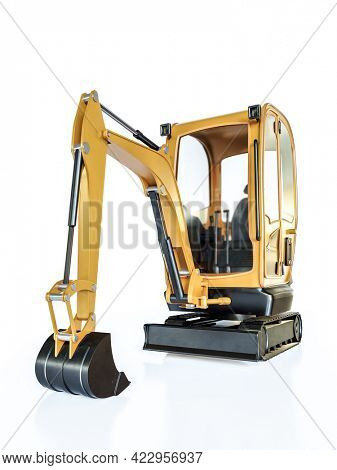 3D rendering of yellow compact excavator on white
