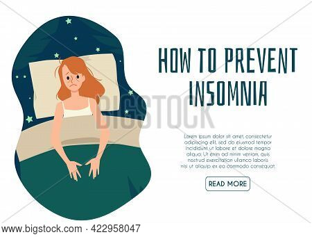 Web Banner How To Prevent Insomnia With Girl Suffer From Sleeplessness At Night.