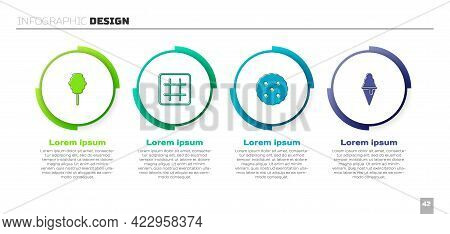 Set Cotton Candy, Waffle, Cookie Or Biscuit And Ice Cream In Waffle Cone. Business Infographic Templ