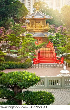 The Oriental Gold Pavilion Of Absolute Perfection And Bonsai Tree In Nan Lian Garden, Chi Lin Nunner