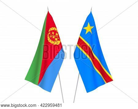 National Fabric Flags Of Democratic Republic Of The Congo And Eritrea Isolated On White Background.