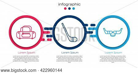 Set Line Sport Bag, Ice Hockey Stick And Ice Hockey Sticks And Puck. Business Infographic Template.