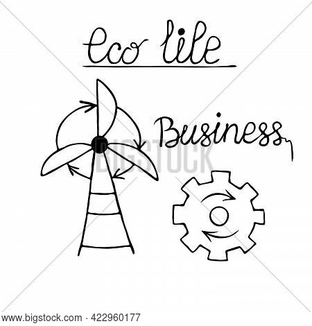 Save Energy. Vector Doodle With Zero Waste. Recycling, Reuse. Ecostyle. Eco-friendly, Plastic-free,