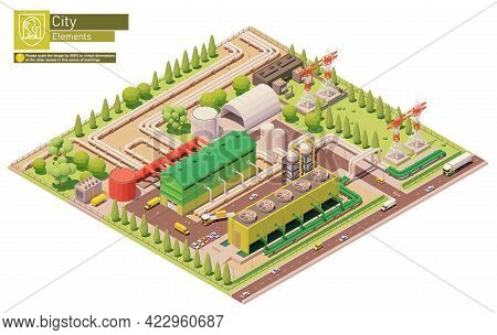 Vector Isometric Geothermal Power Station Or Plant