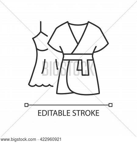 Mini Gown With Robe Linear Icon. Female Sleepwear. Women Nightwear. Ladies Lace Dress For Sleep. Thi