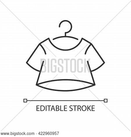 Crop Top Linear Icon. Short For Women. Unisex Comfy Wear. Outfit For Home Lounging. T Shirt. Thin Li