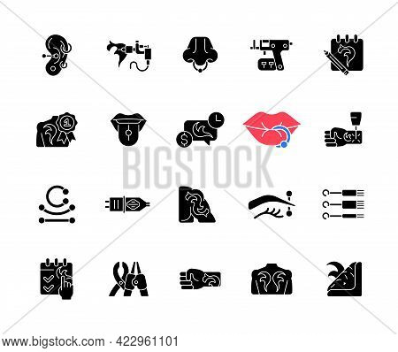 Tattoo And Piercing Black Glyph Icons Set On White Space. Creating Beautiful Pictures On Human Skin.