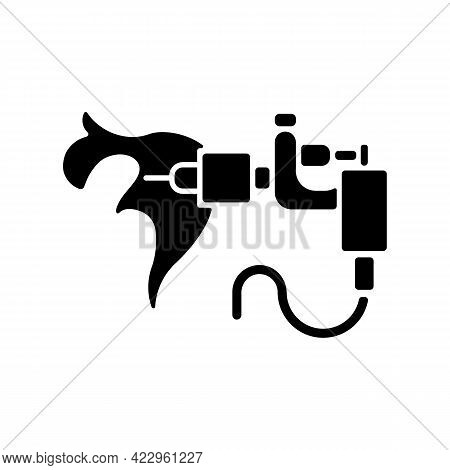 Tattoo Machine Black Glyph Icon. Special Device For Creating Tattoos. Professional Equipment. Tool F