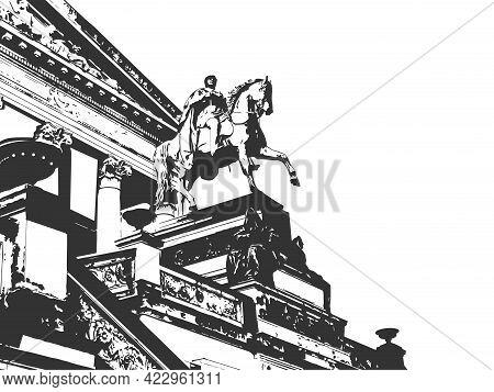 Berlin Museum, Man On Horseback, City Of The European Country Germany. Sketch Scratch Board Imitatio