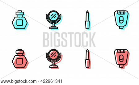 Set Line Nail File, Perfume, Round Makeup Mirror And Epilator Icon. Vector