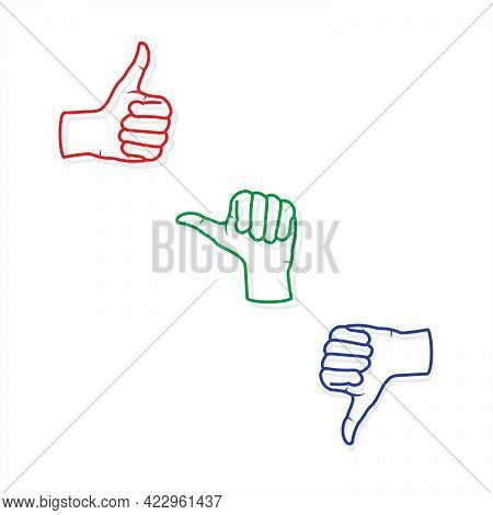 Set Of Thumbs Up Symbol | Thumbs Up Icon | Thumbs Up Illustration | Social Media Icon