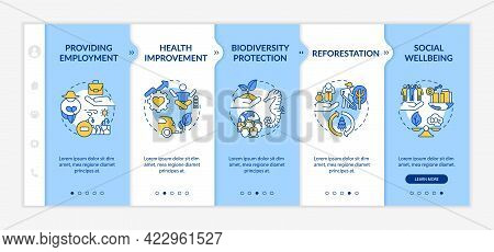 Carbon Offsetting Advantages Onboarding Vector Template. Responsive Mobile Website With Icons. Web P