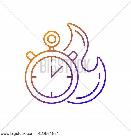 Time Limit Gradient Linear Vector Icon. Fast Procedure. Urgent Task. Timer With Alarm. Limited Offer